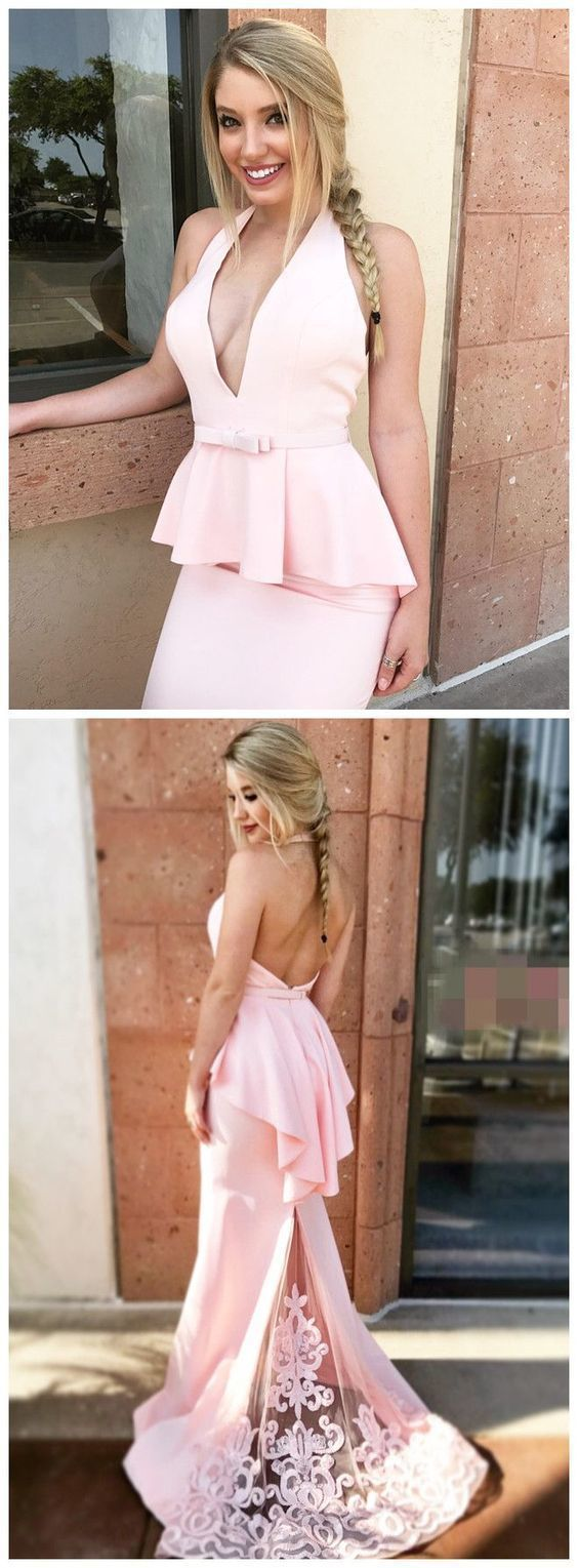 Mermaid Halter Backless Sweep Train Pink Prom Dress with Appliques