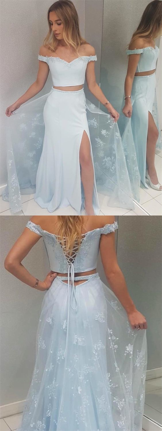 Mermaid Halter Backless Sweep Train Pink Prom Dress with AppliquesTwo Piece
