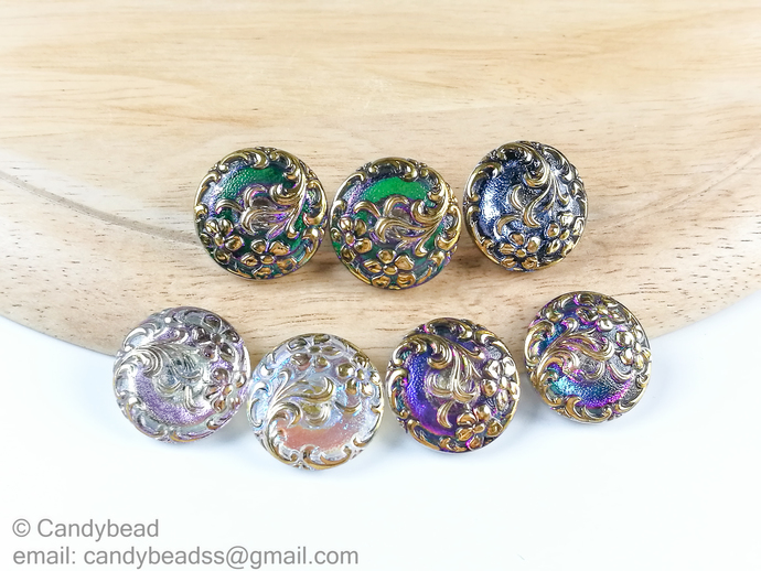 Czech Glass Button 23mm flower button for crafts or personalised jewelry and