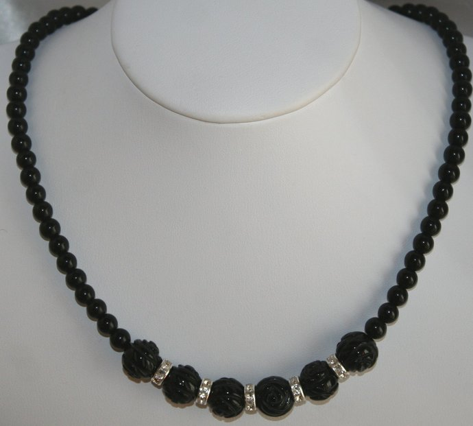Carved Black Onyx Beads with Rhinestone Rondelle Statement Necklace, Black