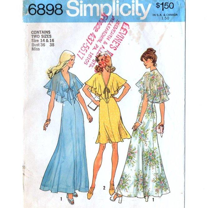 Simplicity 6898 Misses Halter Dress 70s Vintage Sewing Pattern Uncut Size 14, 16