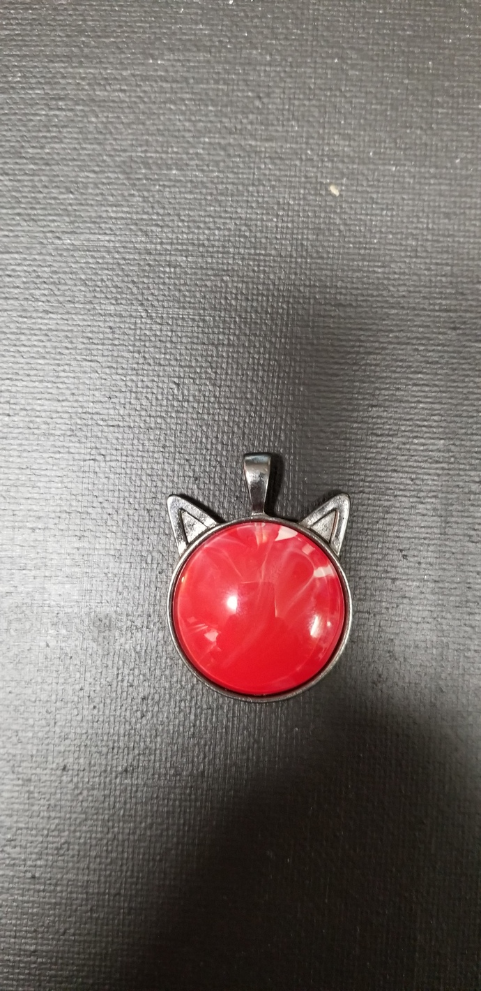 Gun metal grey Cat Pendent- Purple, Red, Ocean Green, Yellow, Hunter Green