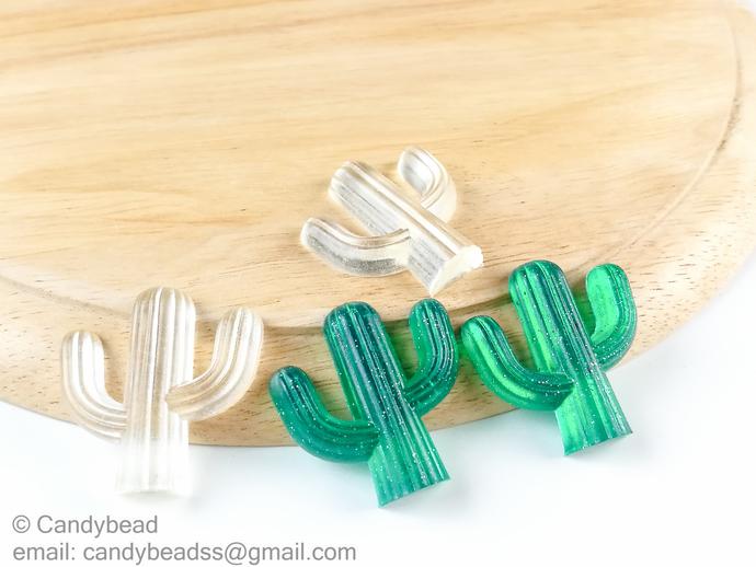 Crystal Clear and Green Cactus Resin Embellishment, DIY Headband Supply