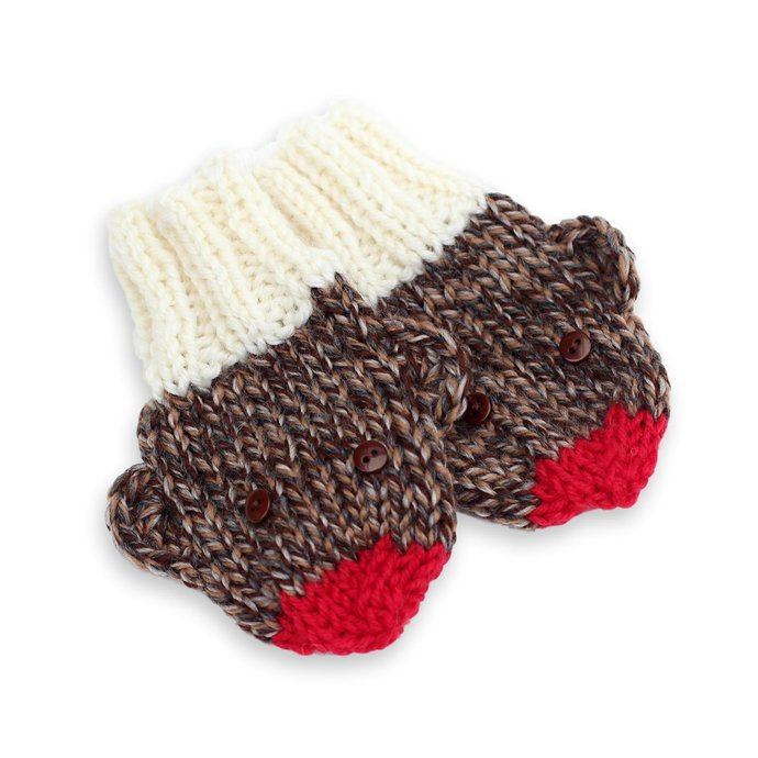 Animal Mittens No Thumb, Sock Monkey, 6 to 12 Months