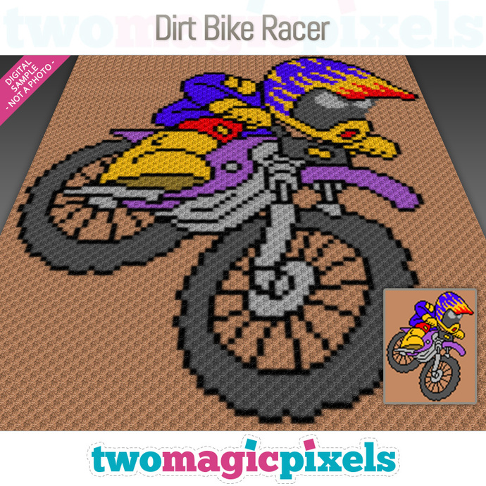 Dirt Bike Racer crochet graph (C2C, Mini C2C, SC, HDC, DC, TSS), cross stitch;