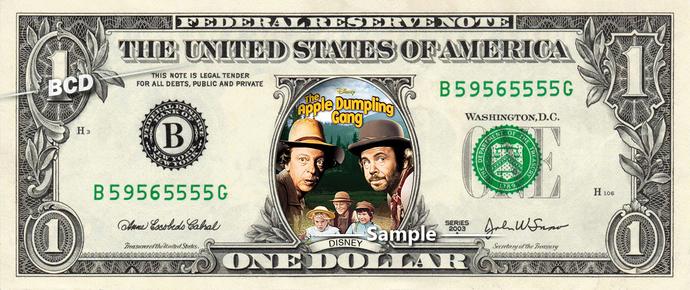 Copy of Apple Dumpling Gang Movie on a REAL Dollar Bill Disney Cash Money