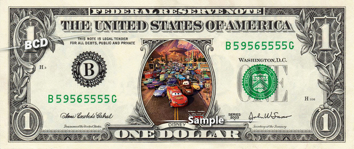 CARS 4 Movie on a REAL Dollar Bill Disney Cash Money Collectible Memorabilia