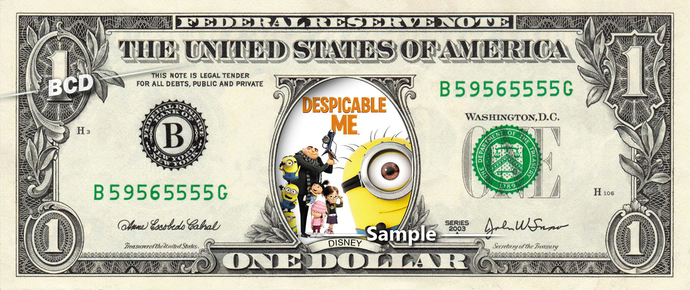 Despicable Me Movie on a REAL Dollar Bill Disney Cash Money Collectible