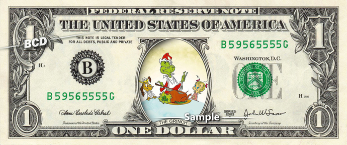 How Grinch Stole Christmas Movie on REAL Dollar Bill Disney Cash Money