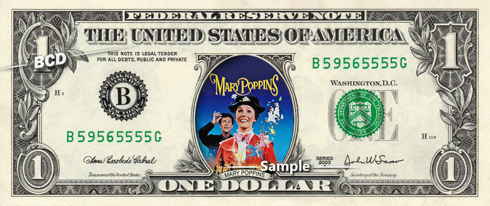 MARY POPPINS Movie on a REAL Dollar Bill Disney Cash Money Collectible