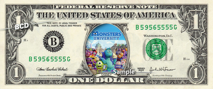 Monsters University Movie on a REAL Dollar Bill Disney Cash Money Collectible