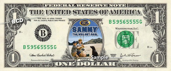 Sammy The Way-out Seal Movie on a REAL Dollar Bill Disney Cash Money Collectible
