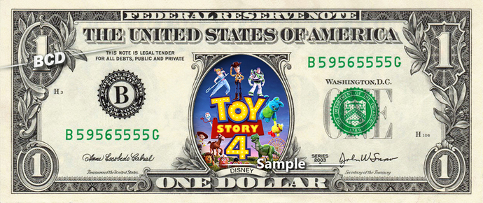 Toy Story 4 Movie on a REAL Dollar Bill Disney Cash Money Collectible