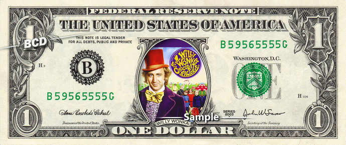 Willy Wonka And The Chocolate Factory Movie on a REAL Dollar Bill Disney Cash