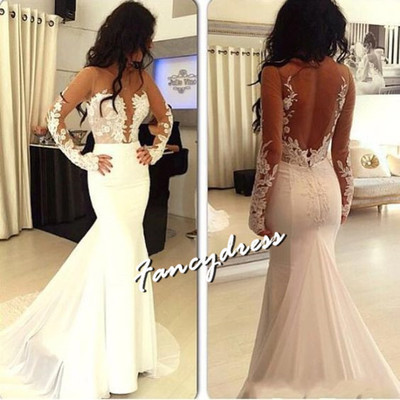 Sexy Long Sleeve Appliques Backless Mermaid Wedding Dresses, Bridal Gowns