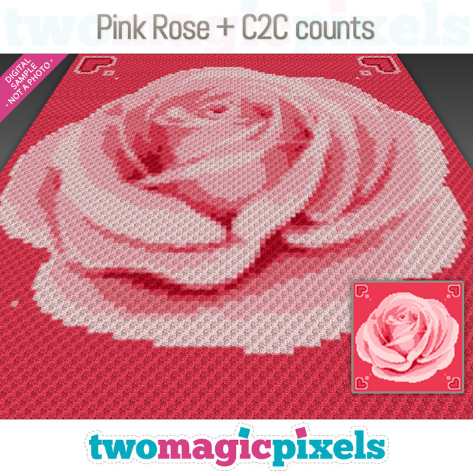 [C2C] Pink Rose crochet graph + row-by-row counts; instant PDF download
