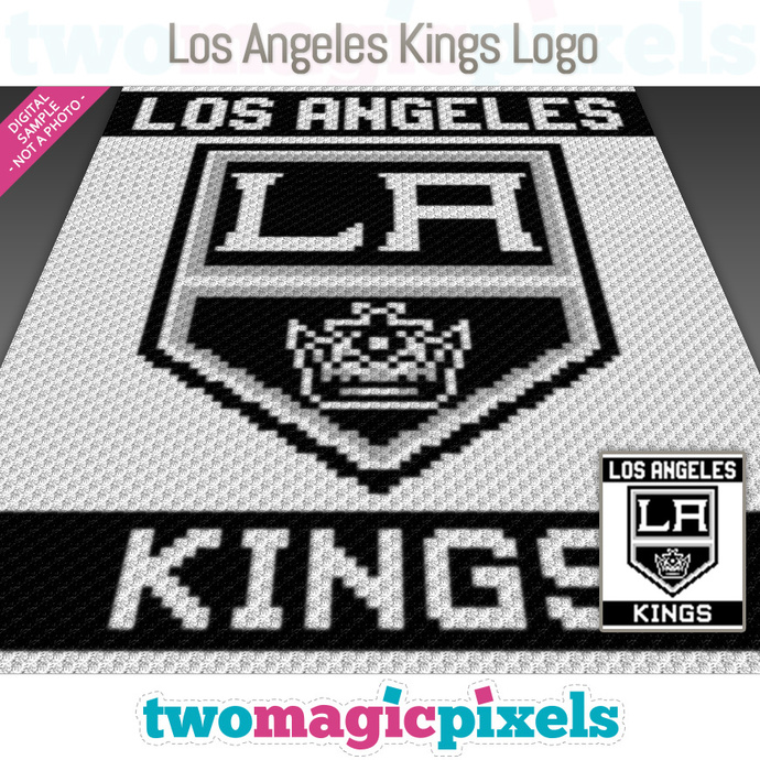 Los Angeles Kings Logo crochet graph (C2C, Mini C2C, SC, HDC, DC, TSS), cross