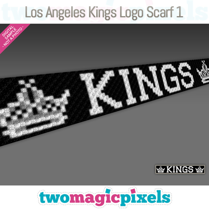 [C2C] Los Angeles Kings Logo Scarf 1; crochet graph + row-by-row counts; instant