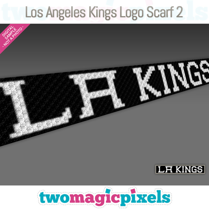 [C2C] Los Angeles Kings Logo Scarf 2; crochet graph + row-by-row counts; instant