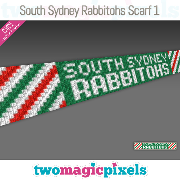 [C2C] South Sydney Rabbitohs Scarf 1; crochet graph + row-by-row counts; instant