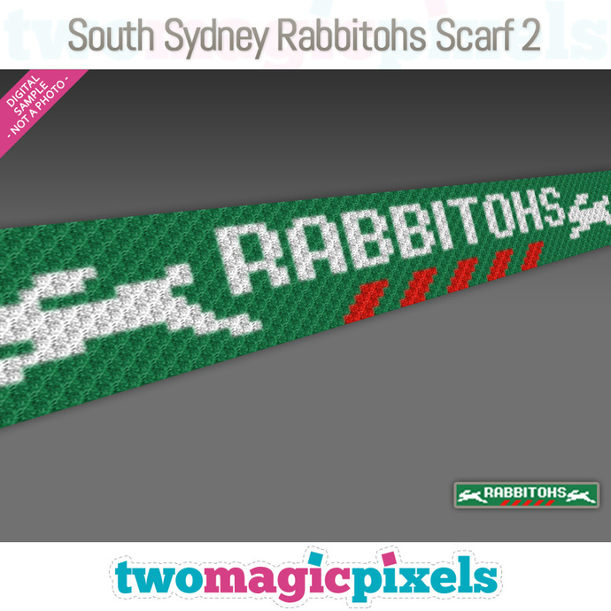 [C2C] South Sydney Rabbitohs Scarf 2; crochet graph + row-by-row counts; instant