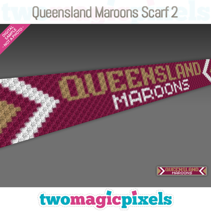 [C2C] Queensland Maroons Scarf 2; crochet graph + row-by-row counts; instant PDF