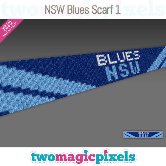 [C2C] NSW Blues Scarf 1; crochet graph + row-by-row counts; instant PDF download