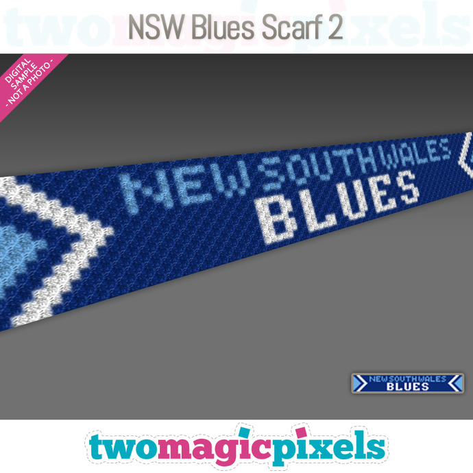 [C2C] NSW Blues Scarf 2; crochet graph + row-by-row counts; instant PDF download
