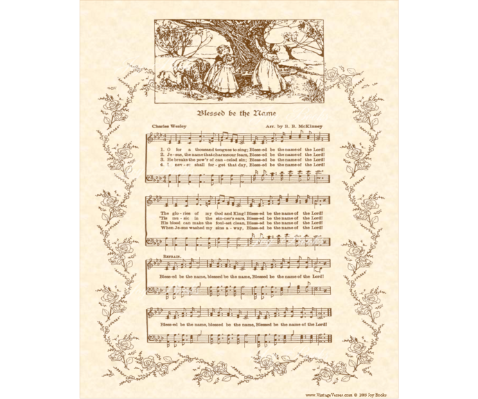 BLESSED BE THE NAME Vintage Verses DIY Print It Yourself Sheet Music Wall Art