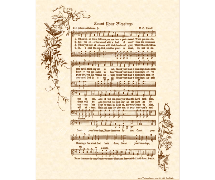 COUNT YOUR BLESSINGS Vintage Verses DIY Print It Yourself Sheet Music Wall Art