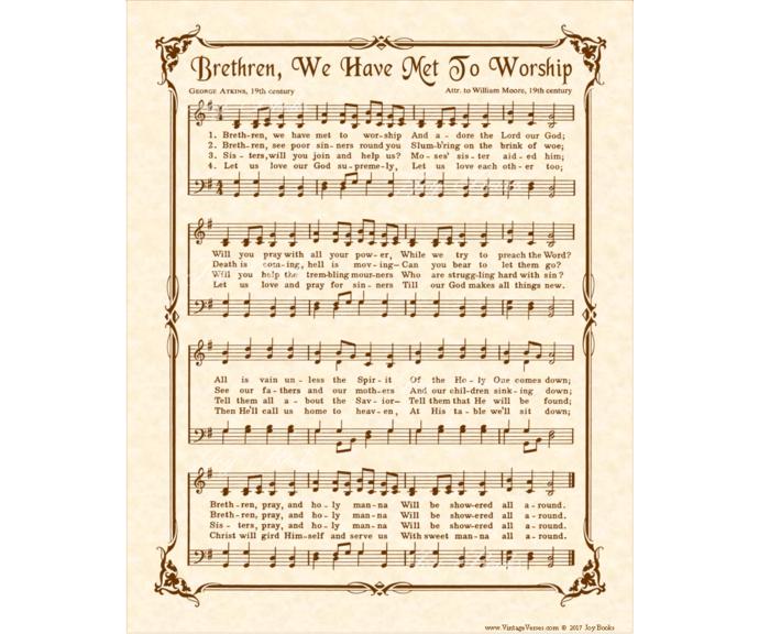 BRETHREN WE HAVE MET TO WORSHIP Vintage Verses DIY Print It Yourself Sheet Music
