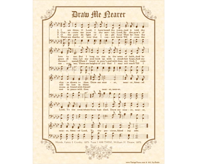 DRAW ME NEARER Vintage Verses DIY Print It Yourself Sheet Music Wall Art Antique