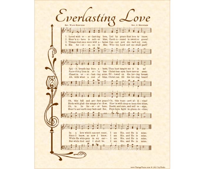EVERLASTING LOVE Vintage Verses DIY Print It Yourself Sheet Music Wall Art