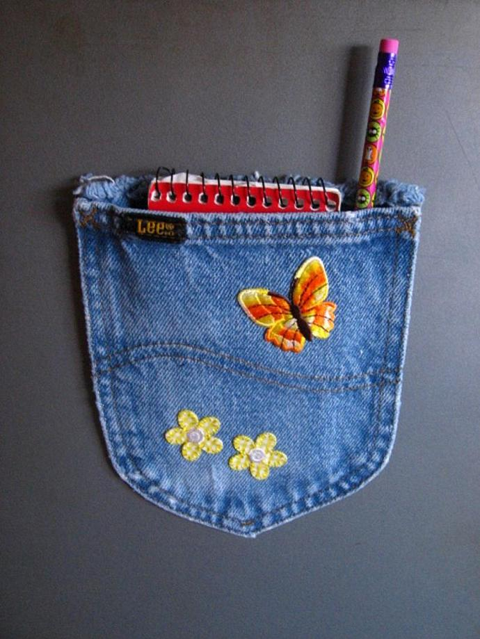Magnetic Embellished Upcycled Blue Jean Pocket