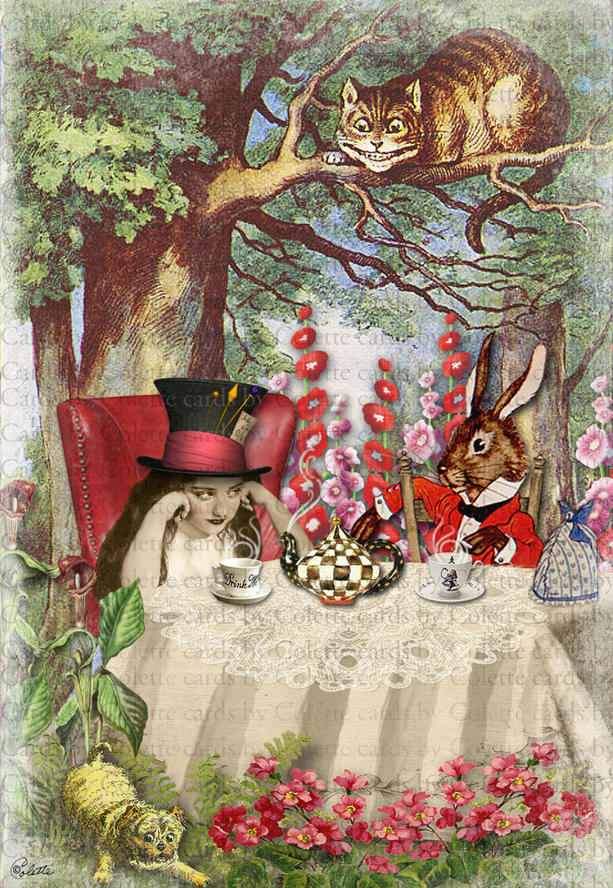 Tea With Alice Digital Collage Greeting Card117