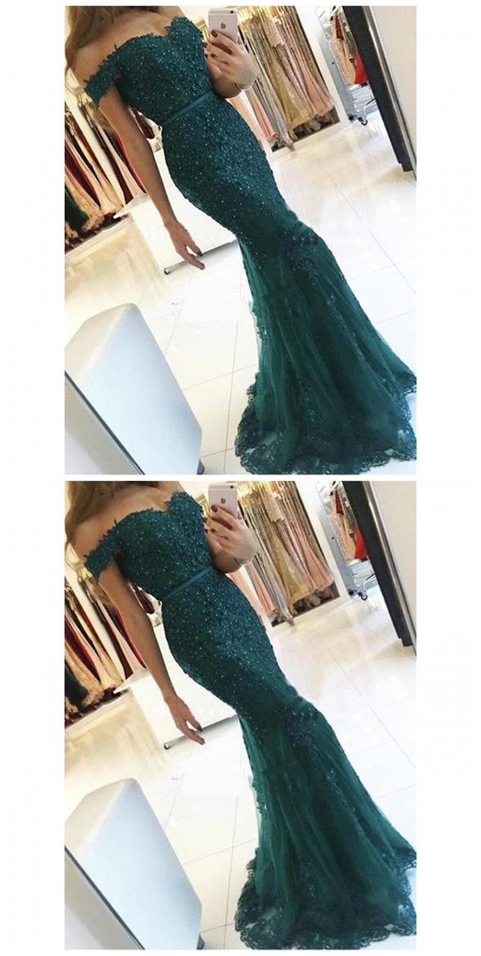 Mermaid Off the Shoulder Burgundy Tulle Prom Dress with Appliques Beading
