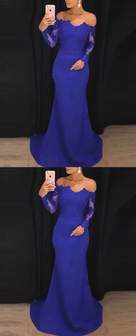 Elegant Fitted Long Sleeves Evening Gown lace Appliqued Prom Dresses