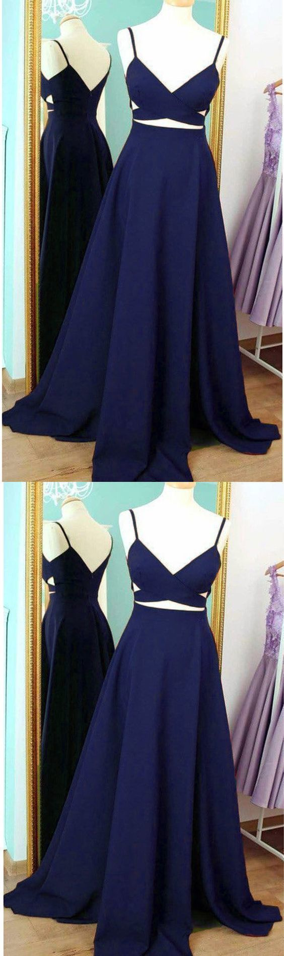 Long Spaghetti Straps Prom Dresses Formal Party Evening Gown