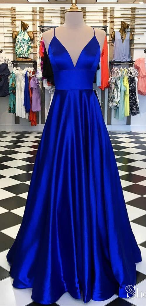 A Line Satin Royal Blue Simple Prom Dresses Spaghetti Strap V Neck Plus  Size Formal Dresses