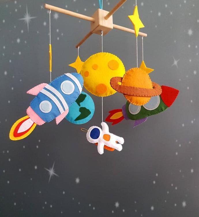 Astronauts mobile Space nursery decor Planet mobile Moon star baby mobile Space