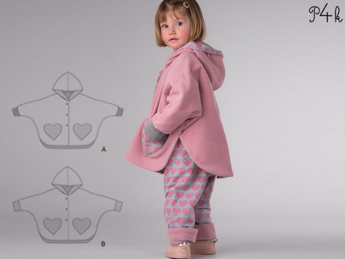 Girls baby poncho and pants pattern pdf. Lined unisex reversible cape with
