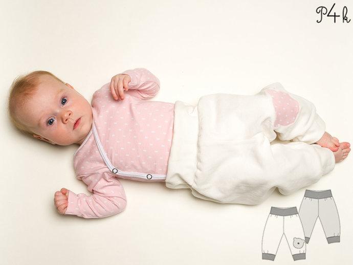 Baby yoga pants for boys + girls sewing pattern pdf. Sweatpants, reversible