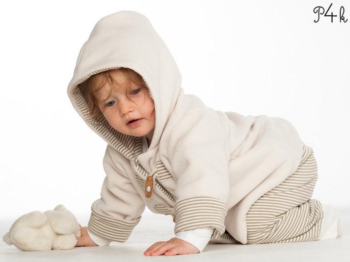 Girl Baby girls + boys duffle coat and pants sewing pattern pdf bundle. Hooded