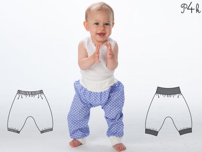 Baby Boy Girl Harem Pants pattern Pdf sewing pattern for toddler boys + girls.