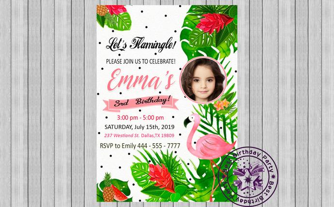 Flamingo invitation with picture, Flamingo party invitation, Flamingo party