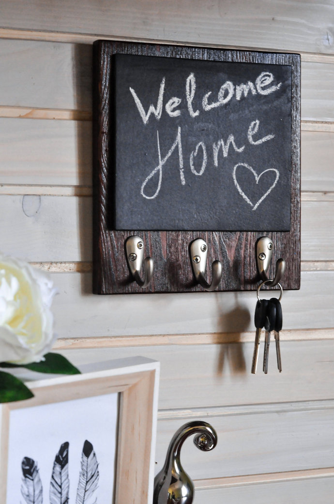 Decor for Kitchen Wall, Wooden Message Board, Dog Leash & Coat Holder, Memo