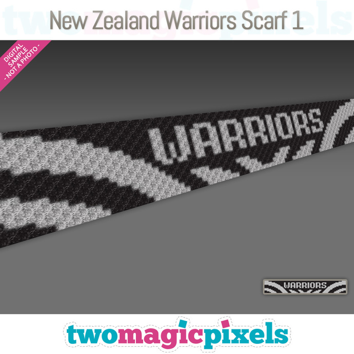 [C2C] New Zealand Warriors Scarf 1; crochet graph + row-by-row counts; instant