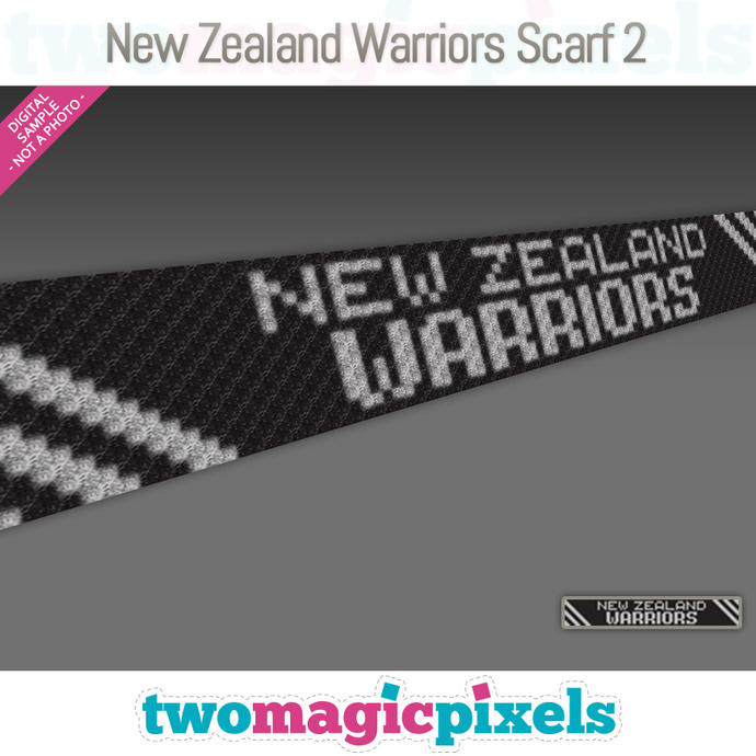[C2C] New Zealand Warriors Scarf 2; crochet graph + row-by-row counts; instant
