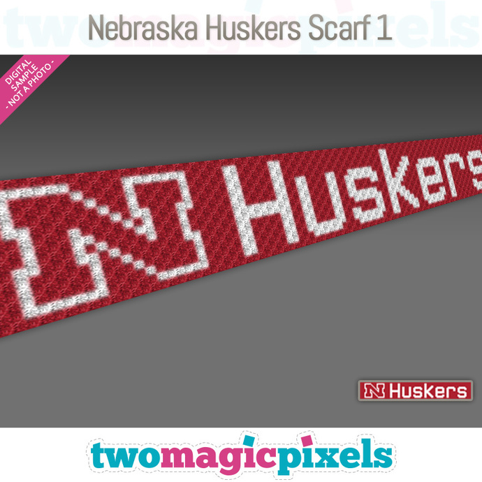[C2C] Nebraska Huskers Scarf 1; crochet graph + row-by-row counts; instant PDF
