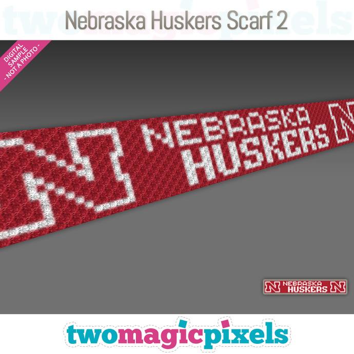 [C2C] Nebraska Huskers Scarf 2; crochet graph + row-by-row counts; instant PDF